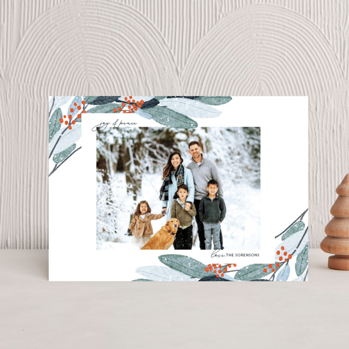 """Wintery Eucalyptus"" - Holiday Postcards in Snow by Angel Walker."