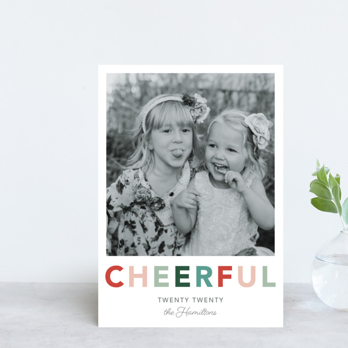"""""""Cheerful"""" - Holiday Postcards in Jolly by Hudson Meet Rose."""