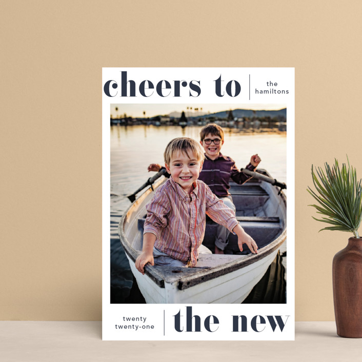"""""""Bold Cheer"""" - Holiday Postcards in Ocean by Hudson Meet Rose."""