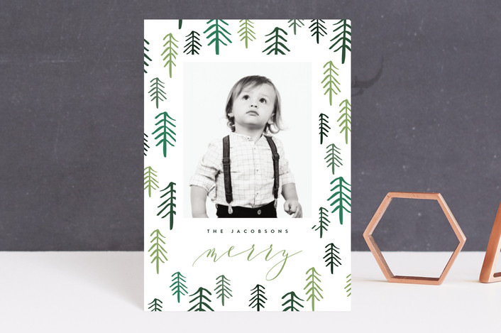 """Fresh Forest"" - Modern Holiday Postcards in Spruce by Kristie Kern."
