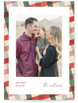 This is a red christmas postcard by Pixel and Hank called All Stripes with standard printing on signature in postcard.