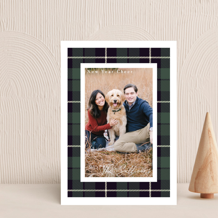 """Christmas Plaid"" - Vintage Holiday Postcards in Winter Pine by Caitlin Considine."