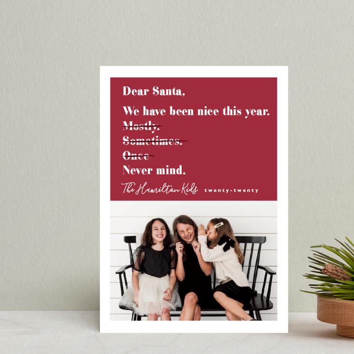 """Never mind"" - Funny Holiday Postcards in Berry by Hudson Meet Rose."
