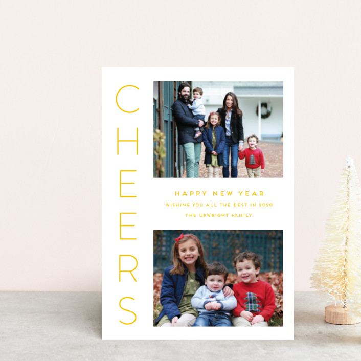 """""""Cheerful"""" - Holiday Postcards in Canary by Kaydi Bishop."""