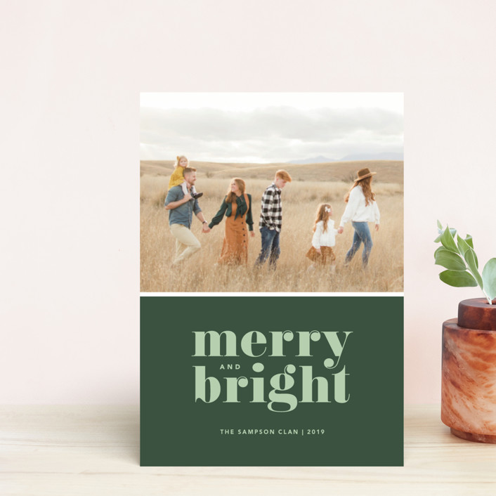 """""""Cheerful Merry"""" - Holiday Postcards in Sage by Kristen Smith."""