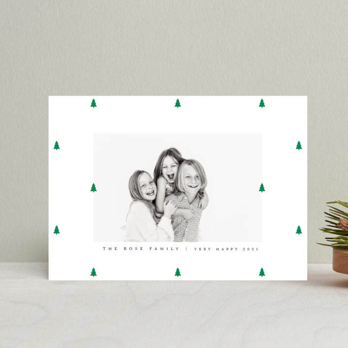 """Preppy Little Trees"" - Holiday Postcards in Pine by Up Up Creative."