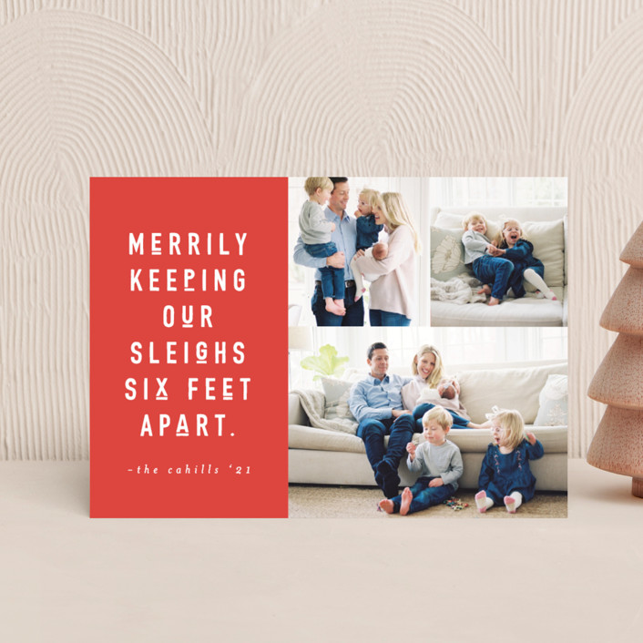 """Six Feet"" - Funny Holiday Postcards in Cinnamon by Abby Munn."