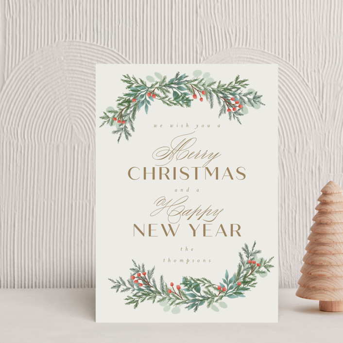 """""""Merry and Happy"""" - Holiday Postcards in Toffee by Ashlee Townsend."""