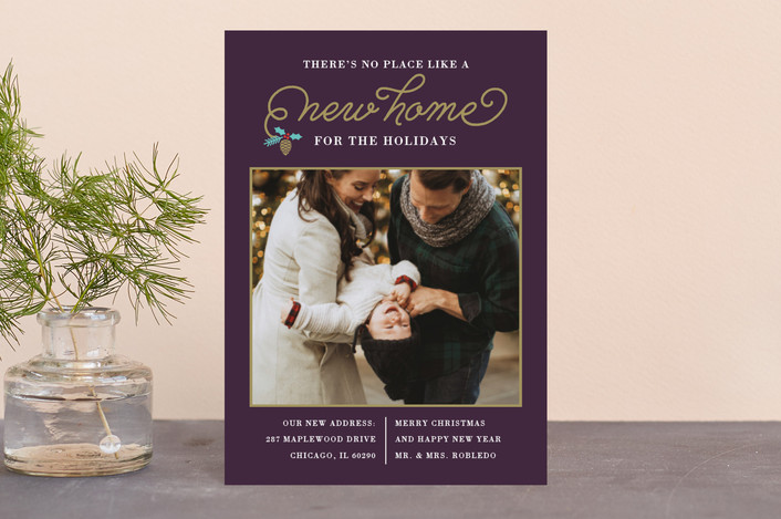 """New Christmas Home"" - Holiday Postcards in Violet by Coco and Ellie Design."
