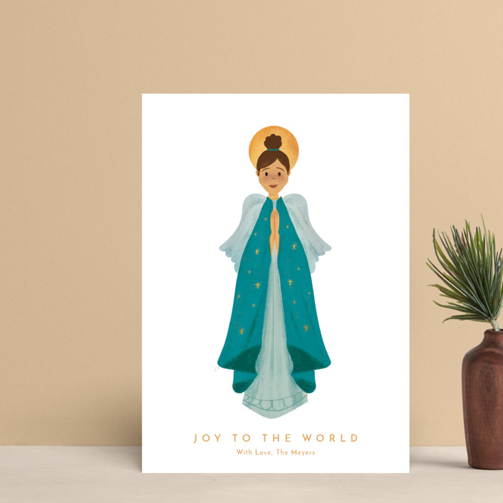 """""""Joy to the World"""" - Modern Holiday Postcards in Teal by Laura Mitchell."""