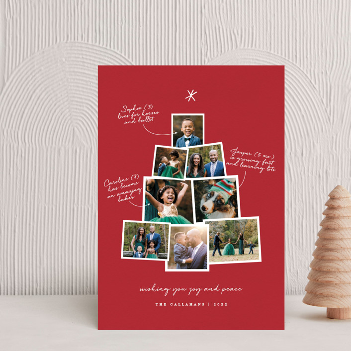 """""""Photo Tree"""" - Holiday Postcards in Cranberry by Shari Margolin."""