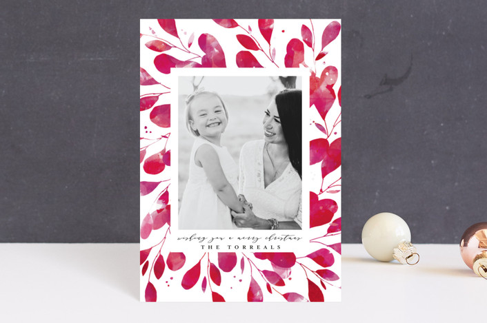 """""""Holiday Botanical Frame"""" - Bohemian Holiday Postcards in Holly by Lori Wemple."""