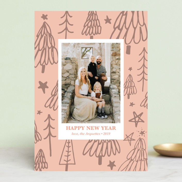 """""""Christmas Tree Graffiti"""" - Modern Holiday Postcards in Blush by Erika Firm."""