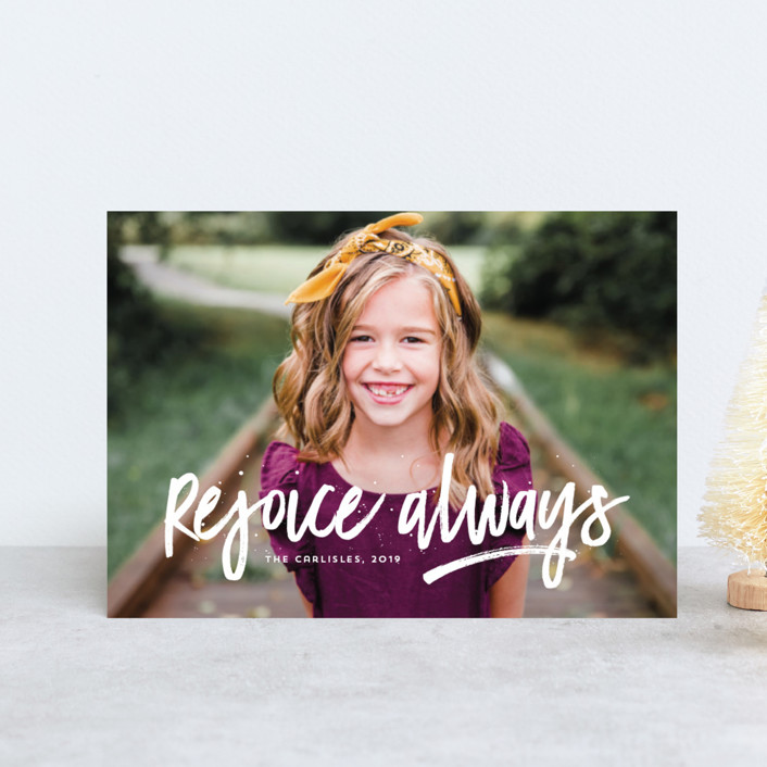 """Rejoice Always"" - Modern Holiday Postcards in Cloud by Lea Delaveris."