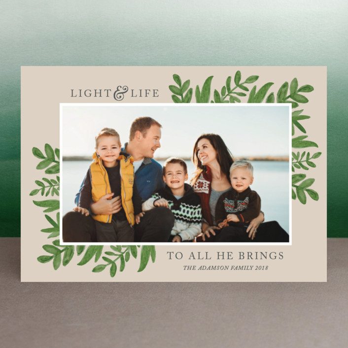 """Light & Life"" - Holiday Postcards in Taupe by Kate Sorensen."