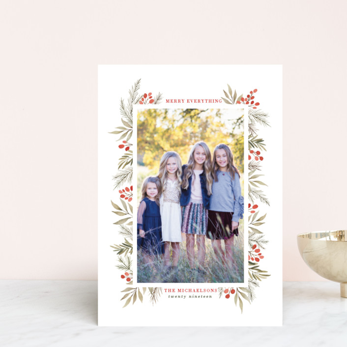 """""""Berries + Pine"""" - Holiday Postcards in Cranberry by Wildfield Paper Co.."""