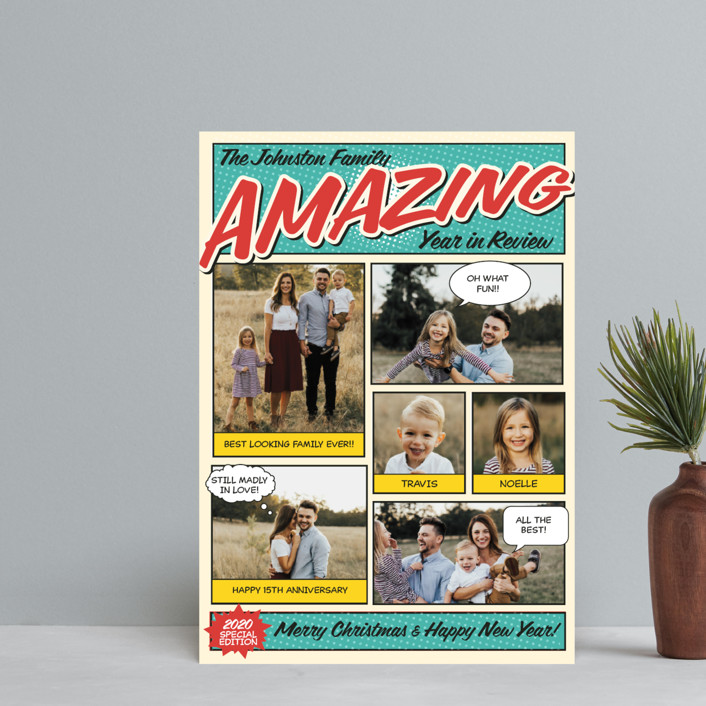 """Amazing Comic Book"" - Vintage Holiday Postcards in Robin's Egg Blue by Coco and Ellie Design."