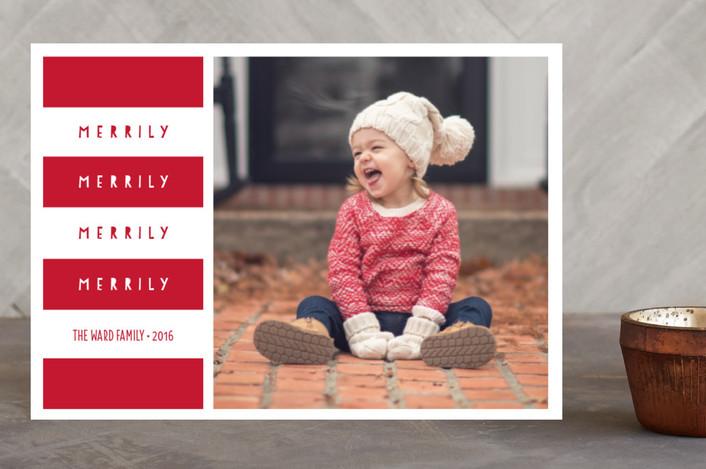 """""""Merrily"""" - Holiday Postcards in Poinsettia by Erica Krystek."""