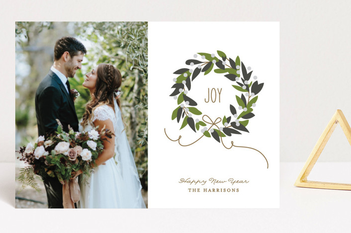 """Magnolia Wreath"" - Holiday Postcards in Magnolia by Jennifer Postorino."