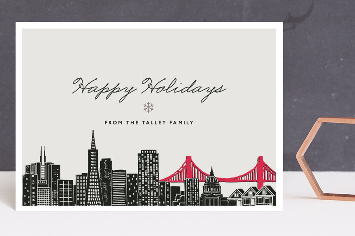 """""""Big City - SF"""" - Holiday Postcards in Light Taupe by Hooray Creative."""