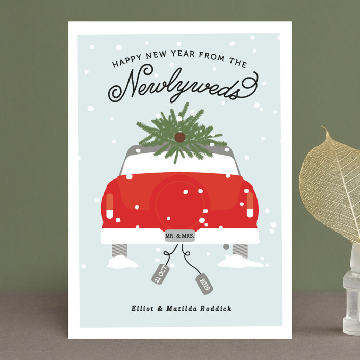 """Merry & Married"" - Holiday Postcards in Berry by Bonjour Berry."