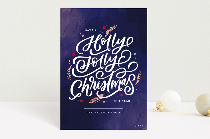 """Holly Jolly Berries"" - Holiday Postcards in Plum by Kristen Smith."