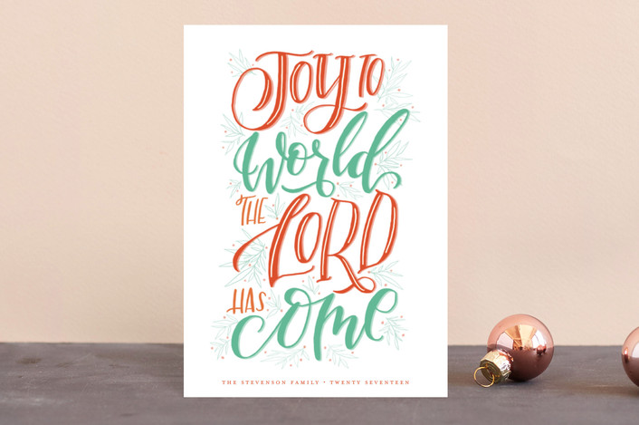 """Lettered Joy"" - Holiday Postcards in Holly by Grace Kreinbrink."