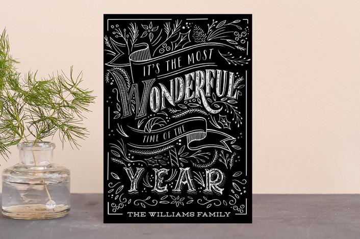 """Wonderful Chalk"" - Vintage Holiday Postcards in Ebony by Hannah Williams."