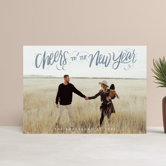"""""""Cheerful Lettering"""" - Bohemian Holiday Postcards in Frost by Cindy Reynolds."""