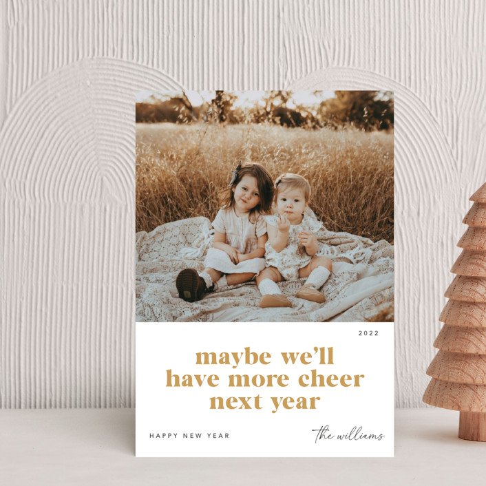 """""""More Cheer Next Year"""" - Funny Holiday Postcards in Peppermint by Robert and Stella."""