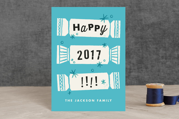 """""""Pop Pop Poppers"""" - Holiday Postcards in Cool New Blue by Carmi Cioni."""