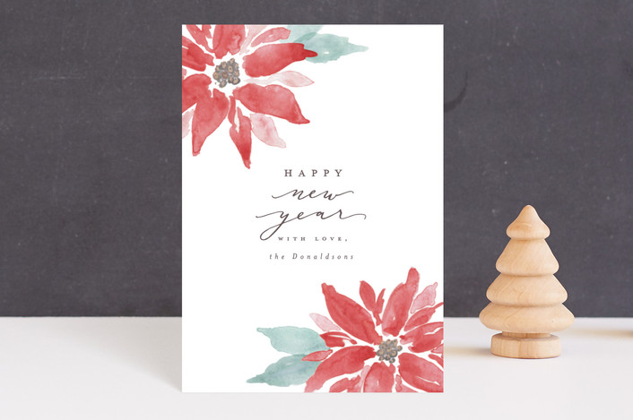"""Painted Poinsettias"" - Bohemian Holiday Postcards in Poinsettia by Everett Paper Goods."