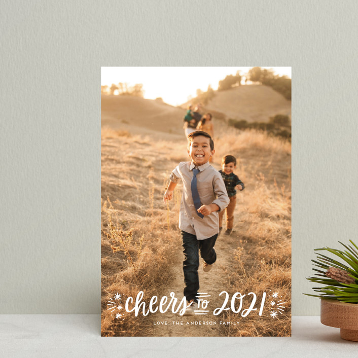 """""""A New Year Cheers"""" - Holiday Postcards in Snowfall by Little Print Design."""