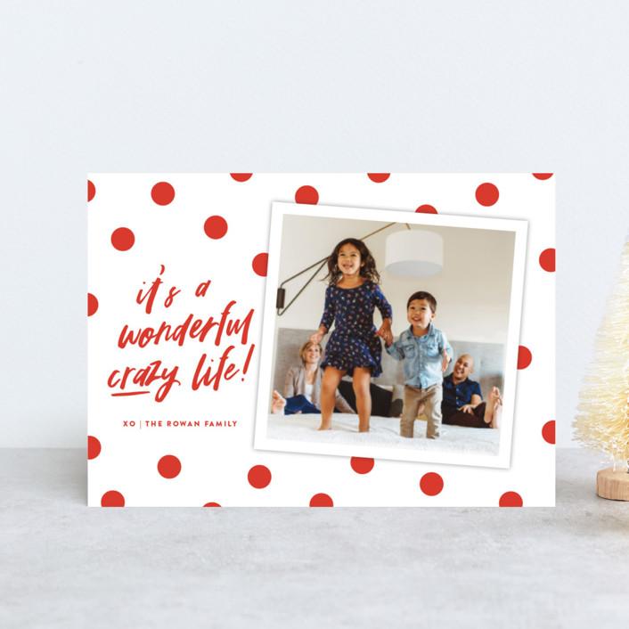 """""""Wonderful Crazy"""" - Modern Holiday Postcards in Festive Red by Oscar & Emma."""