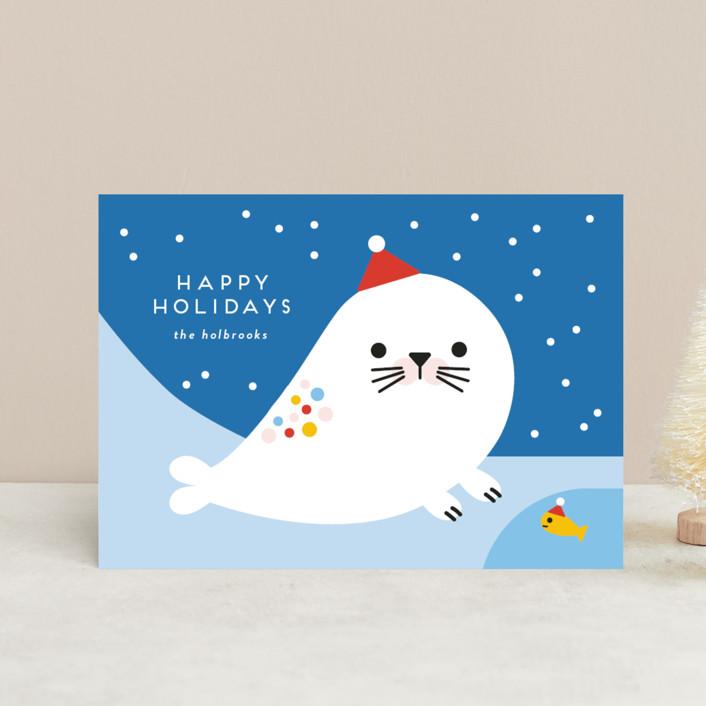 """Rainbow Seal"" - Holiday Postcards in Frozen by Genna Blackburn."