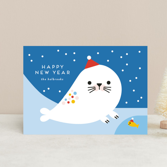 """Rainbow Seal"" - Holiday Postcards in Frozen by Genna Blackburn."