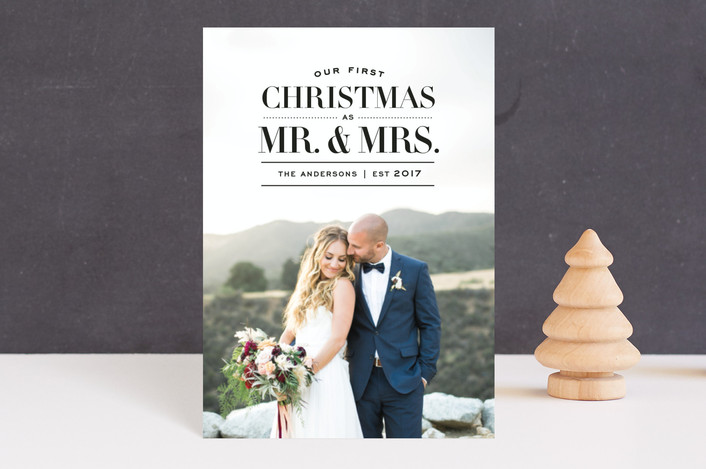 """First Christmas as Mr & Mrs"" - Holiday Postcards in Tuxedo by Emily Henning."