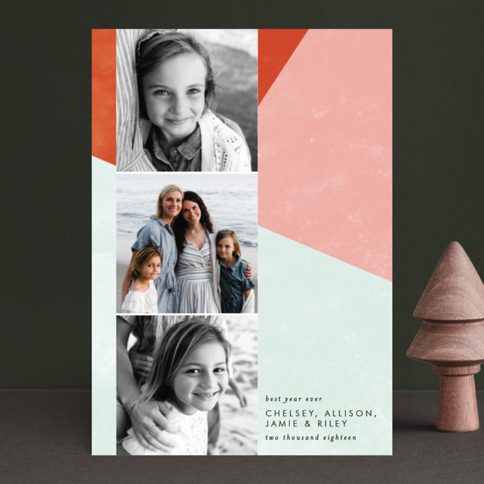 """Bold Blocks of Color"" - Modern Holiday Postcards in Persimmon by Ella Weaver."