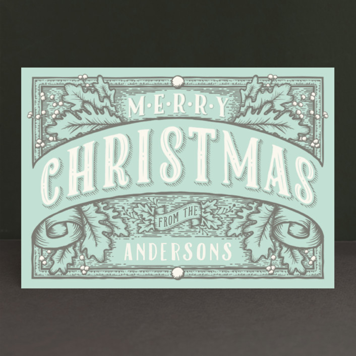 """""""Christmas Banner"""" - Vintage Holiday Postcards in Ink by GeekInk Design."""