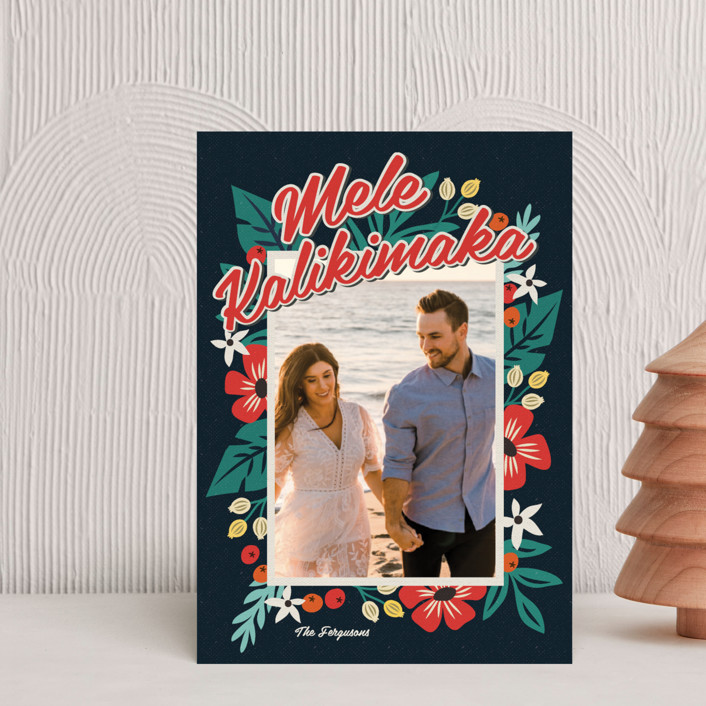 """""""Bold Tropic Florals"""" - Holiday Postcards in Midnight by Coco and Ellie Design."""