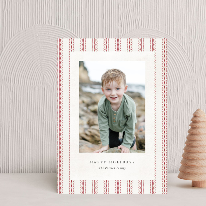 """""""Farmhouse Linen"""" - Vintage Holiday Postcards in HollyBerry by Amy Payne."""