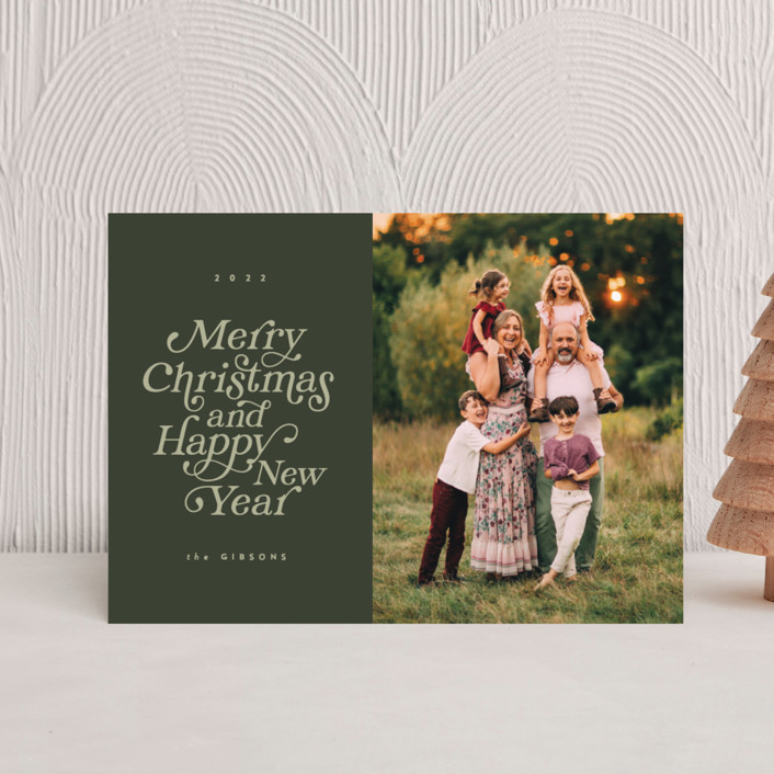 """""""Merry and Happy"""" - Holiday Postcards in Olive by Brianne Larsen."""