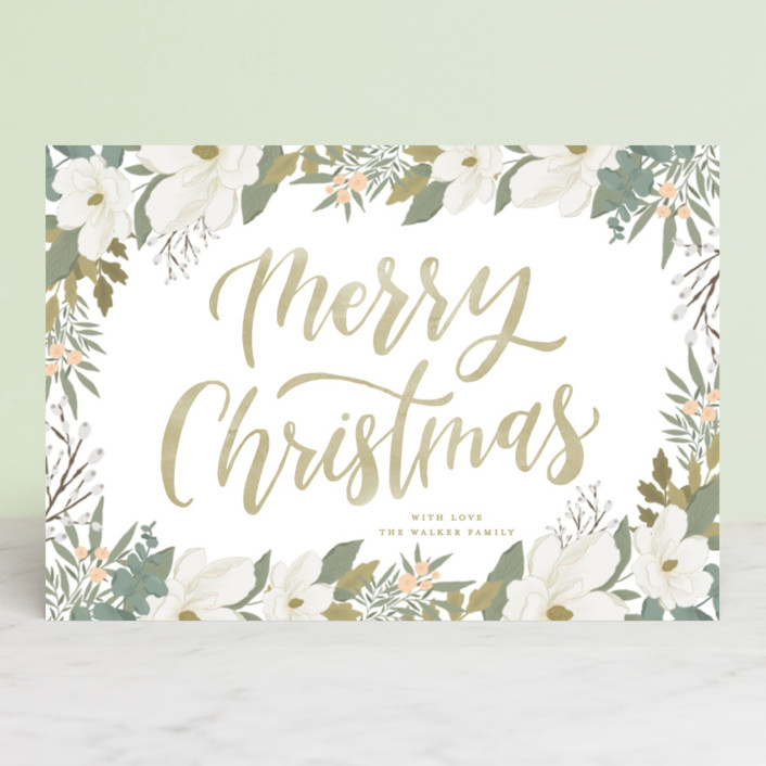 """""""Wrapped in Blooms"""" - Holiday Postcards in Chartreuse by Grace Kreinbrink."""