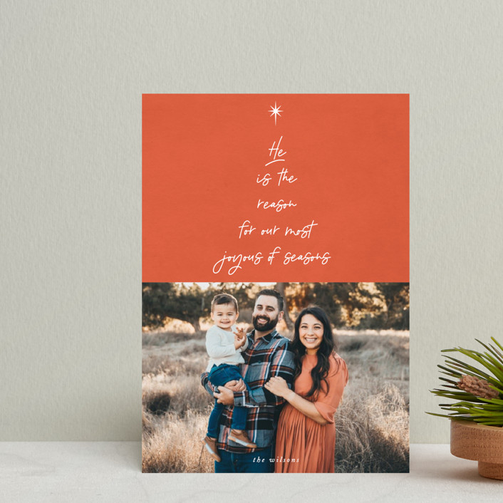 """He is the Reason"" - Modern Holiday Postcards in Tangerine by Catherine Culvenor."