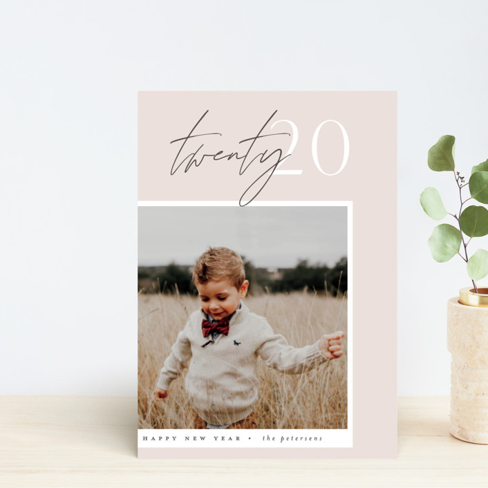 """""""Contrast"""" - Holiday Postcards in Blush by Everett Paper Goods."""