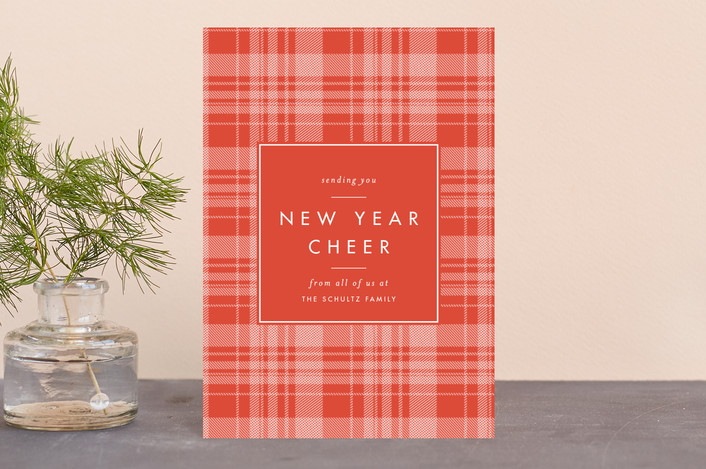 """""""Cheerful Plaid"""" - Vintage Holiday Postcards in Spice by Carolyn Nicks."""
