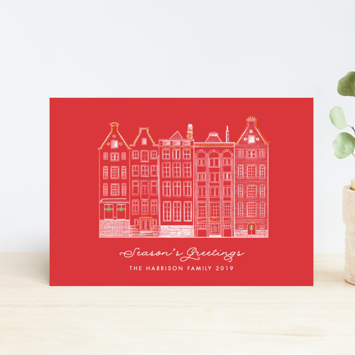 """""""Amsterdam Row Houses"""" - Vintage Holiday Postcards in Berry by Becky Nimoy."""