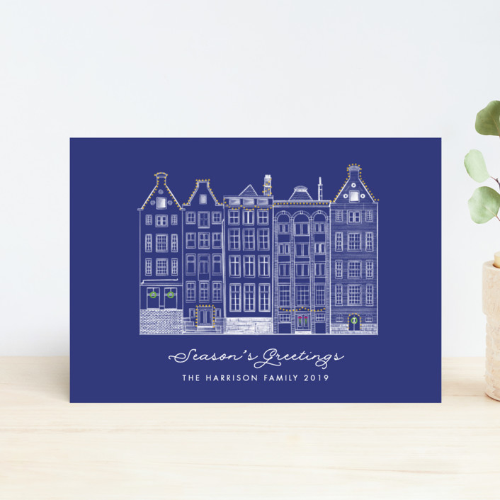 """Amsterdam Row Houses"" - Vintage Holiday Postcards in Navy by Becky Nimoy."