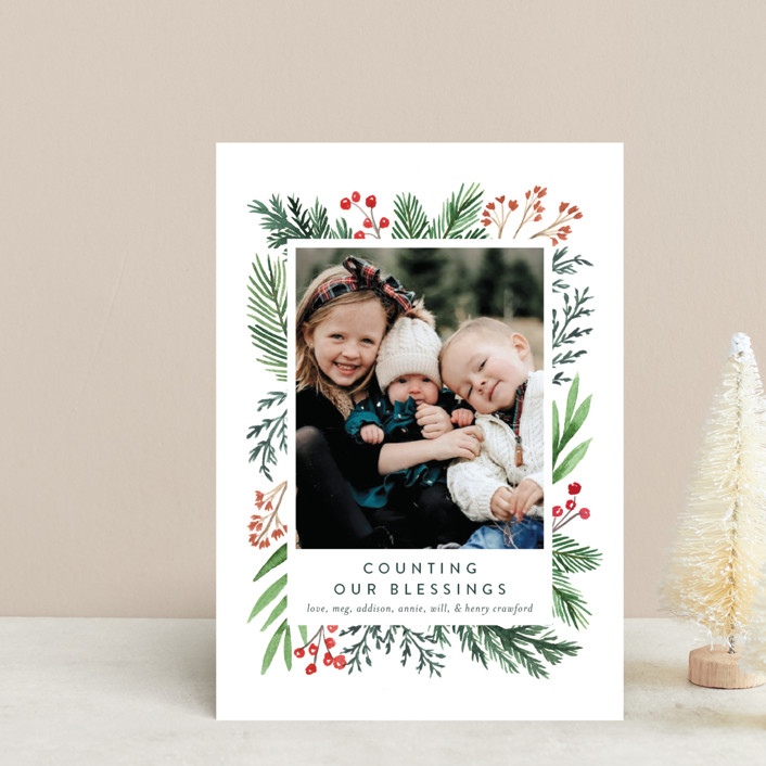 """""""Evergreen Olio"""" - Holiday Postcards in Snowflake by Amy Kross."""