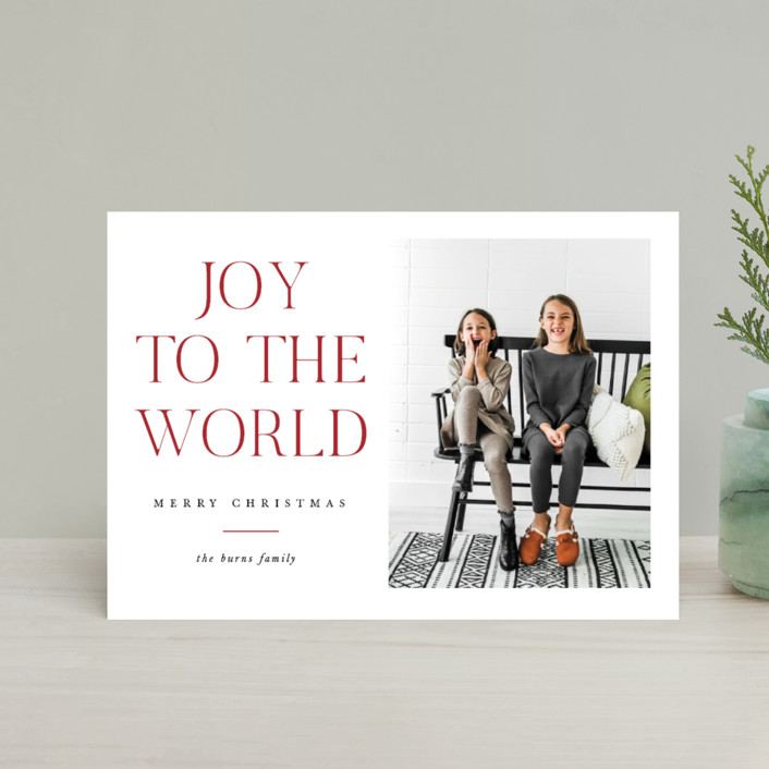 """All The Joy"" - Holiday Postcards in Cranberry by Pixel and Hank."